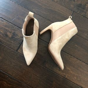 Nude suede ankle booties